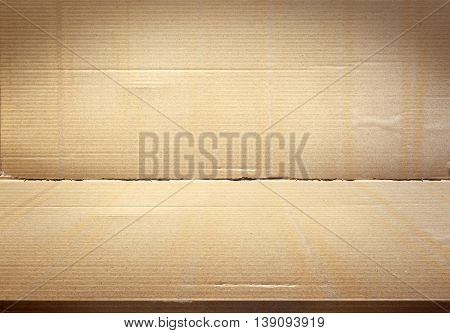 Cardboard table with cardboard background for display