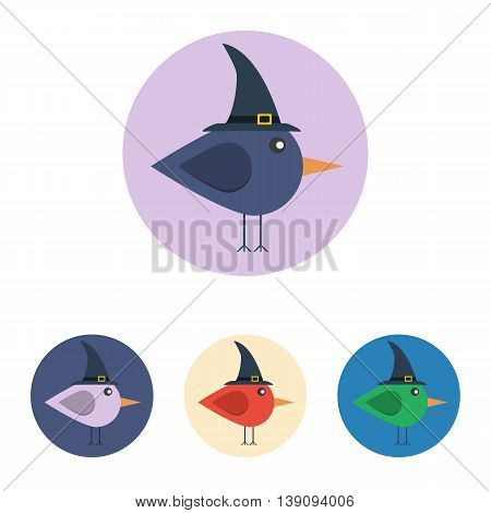 Vector set of icons with bird with witch hat. Icons are in modern flat style in various colors without long shadows. Icons on a circular background for various use.
