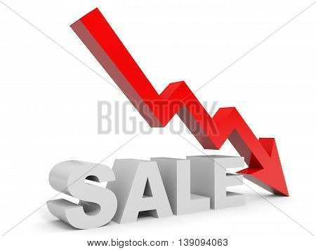 Graph down sale arrow on white background. 3D illustration.