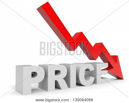 Graph down price arrow on white background. 3D illustration.