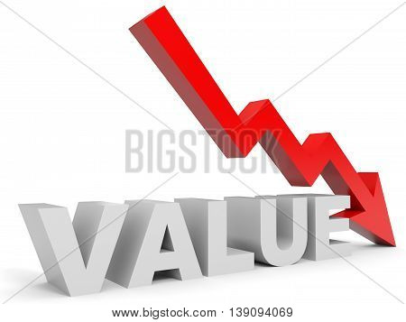 Graph down value arrow on white background. 3D illustration.