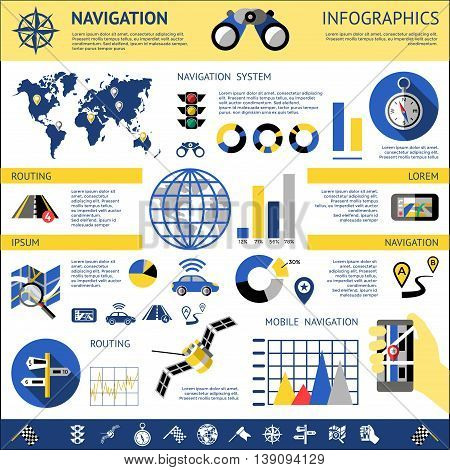 Flat navigation infographics with descriptions of navigation system routing mobile navigation vector illustration