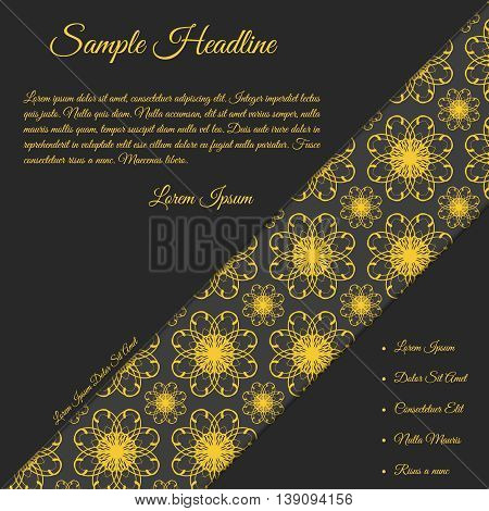 Vector invitation card with papercut effect. Concept in dark grey color with golden text. Template with ornamental background. Card template for various use (birthday wedding party etc.).