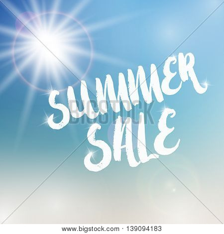 Vector summer sale template. Summer sale template on blurred colorful background. Template with sun and flare object. Sale text template with sparkles. Sale card template for various use.