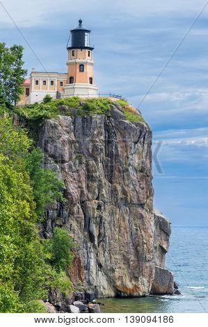Splitrock historical lighthouse on the cliff over Lake Superior in Minnesota.