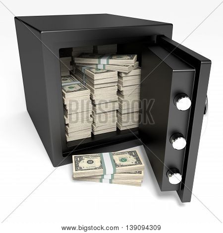 Opened Safe With Bank Notes. One Dollar.