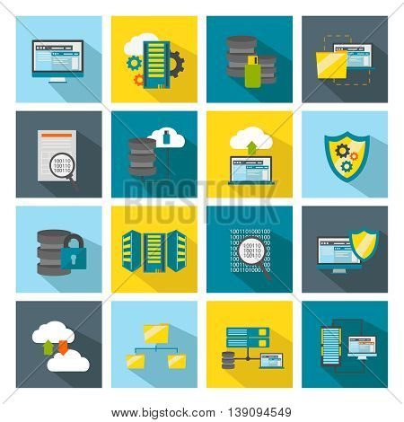 Colored square datacenter icon set software components for optimal performance of your computer vector illustration