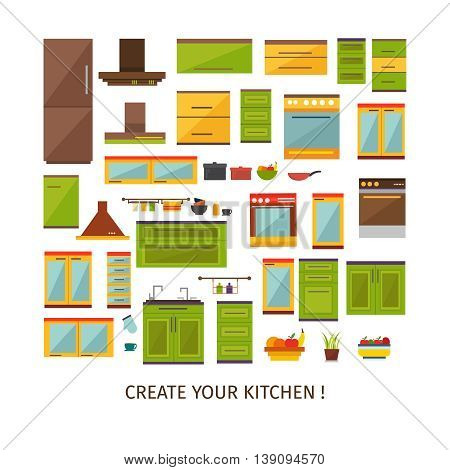 Kitchen interior decorative elements set with colored forniture utensils household equipment plant fruit isolated vector illustration