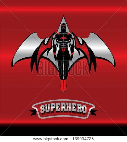 masked superhero with the red wings over the silver icon on the red glowing metallic background.
