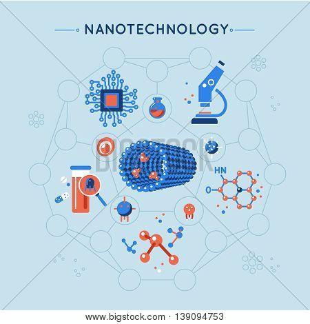 Nanotechnology decorative flat icons set with tube molecule structure microscope elecronics medicine on blue background vector illustration