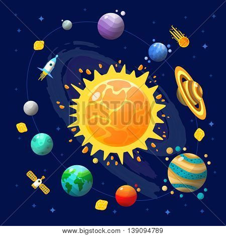 Space universe composition with solar system with planets and technology in space vector illustration