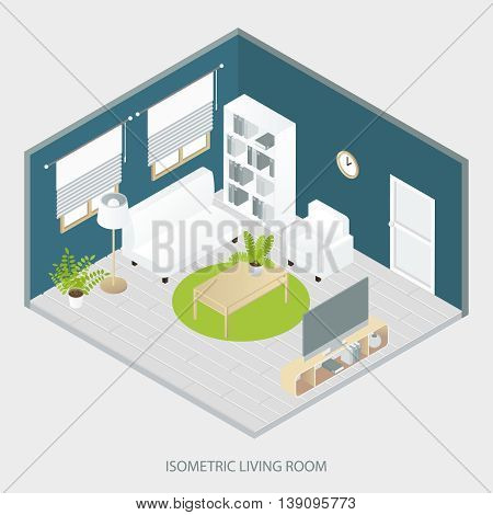 Isometric living room with white and beige furniture round carpet grey parquet floor blue walls vector illustration