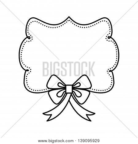 Hand draw concept represented by label and decoration bowtie icon. Isolated and flat illustration.