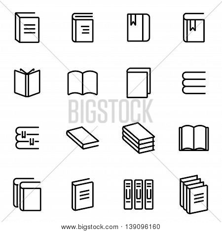 Vector line book icon set on white background