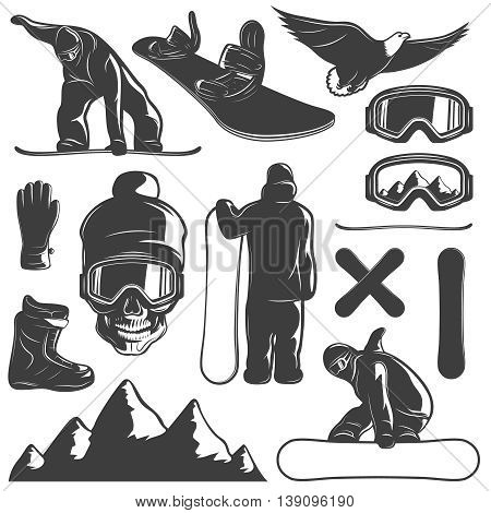 Black isolated snowboarding icon set equipment outfit and snowboarder on white background vector illustration