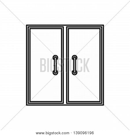 Two glass doors icon in outline style isolated vector illustration