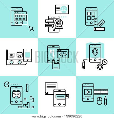 Mobile applications linear concept with development api design menu navigation game search video isolated vector illustration