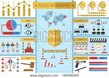 Police work infographics with golden badge world map statistics diagrams on blue and white backgrounds vector illustration