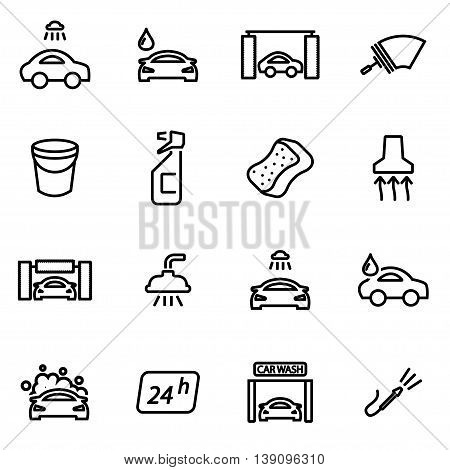 Vector line car wash icon set on white background