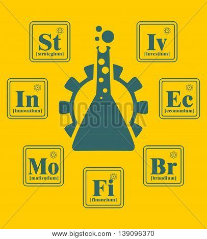 Business model metaphor. Fictional chemical elements around gear and laboratory glass. Business chemistry