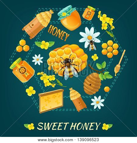 Honey round composition with isolated colored icon set on honey flowers and bees themes vector illustration