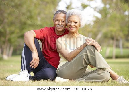 Senior Couple Resting After Exercise