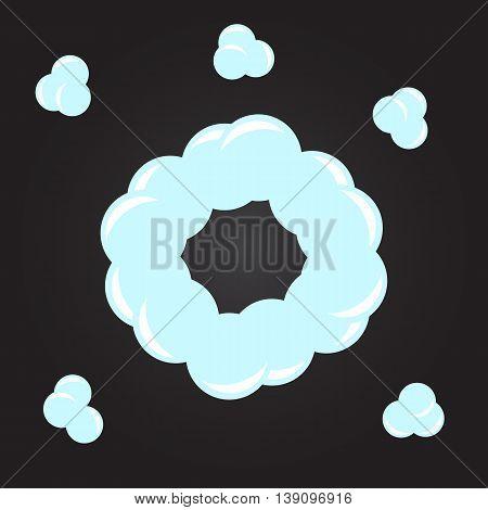 Smoke dust explosion cartoon frame vector eps10