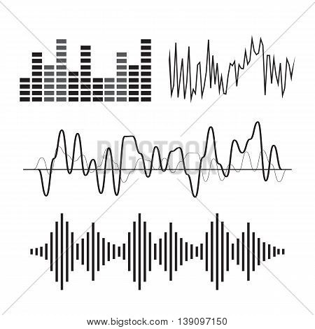 Vector music sound wave icon set eps10