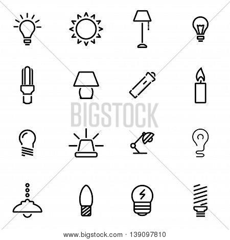 Vector line light icon set on white background