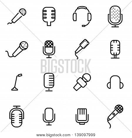 Vector line microphone icon set on white background