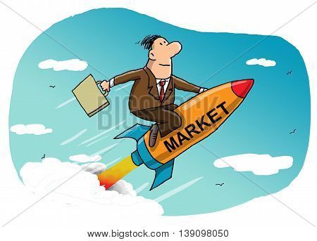 Businessman flying on a rocket to success in the market