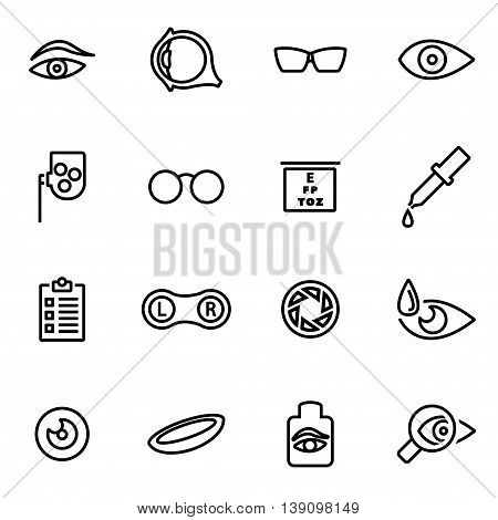 Vector line optometry icon set on white background