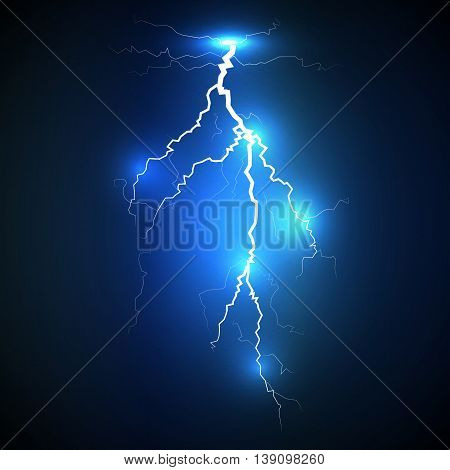 Realistic white lightning strike surrounded with shining blue lights on blue background. Can be used for company logos business identity print products page and web decor or other design.