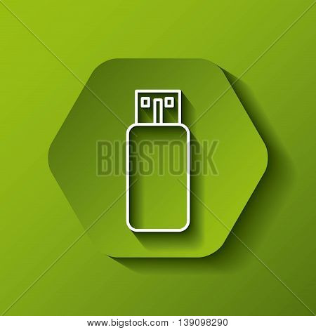 Gadget concept represented by white usb icon. Colorfull and flat illustration. Hexagon shape