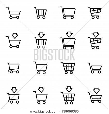 Vector line shopping cart icon set on white background