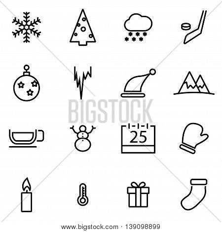 Vector line winter icon set on white background