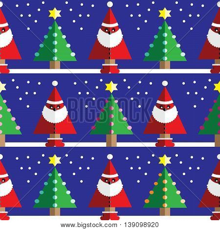 Seamless pattern with geometrical Santa Claus, snow , Christmas trees with  light blue, orange, pink lights and star element in two shades on dark blue background