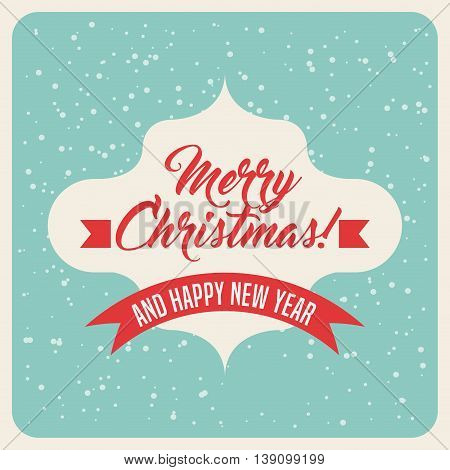 Merry Christmas concept represented by text inside frame icon. Colorfull and vintage illustration.