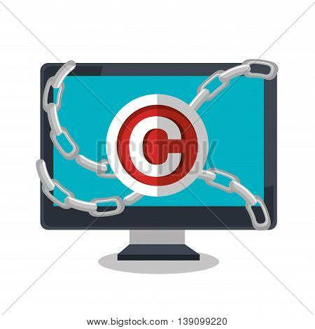 copy right seal over  computer isolated icon design, vector illustration  graphic