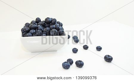Blue fresh summer bilberry isolated on white background.