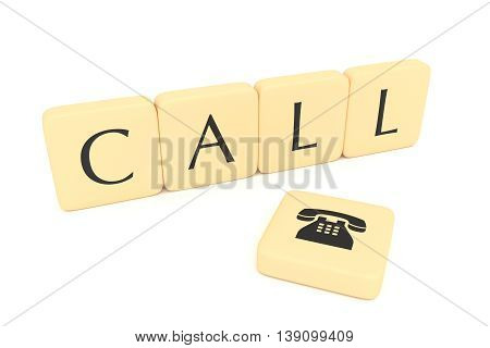 Letter blocks with telephone icon: Call 3d illustration