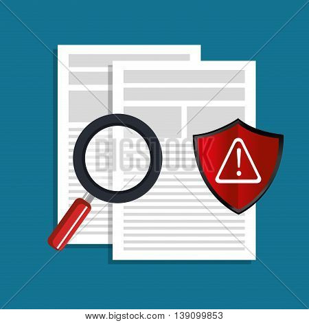 alert shield over documents  isolated icon design, vector illustration  graphic