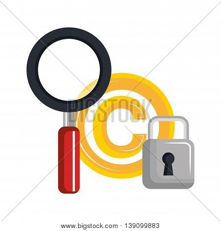 copy right seal over  padlock isolated icon design, vector illustration  graphic