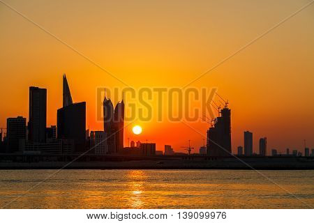 View of Bahrain Skyline during the Dusk