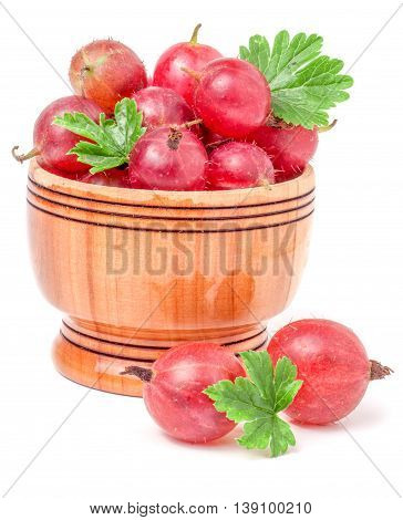 red gooseberries with leaf in a wooden bowl isolated on white background.