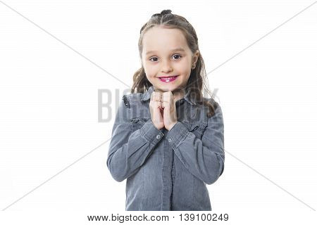 An Adorable girl with smile over white background