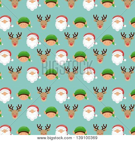 Merry Christmas concept represented by elf reindeer and santa cartoon background. Colorfull and vintage illustration.