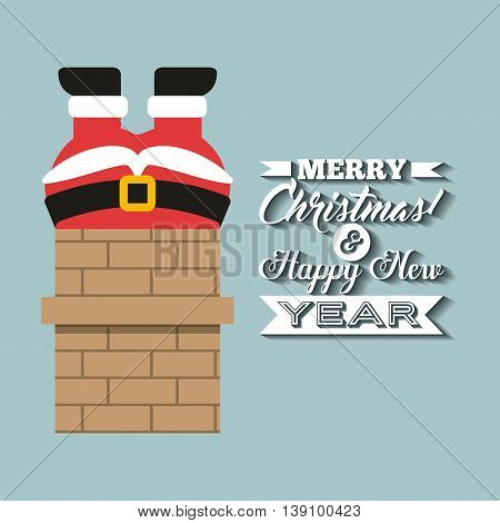 Merry Christmas concept represented by santa cartoon and chimney icon. Colorfull and vintage illustration.