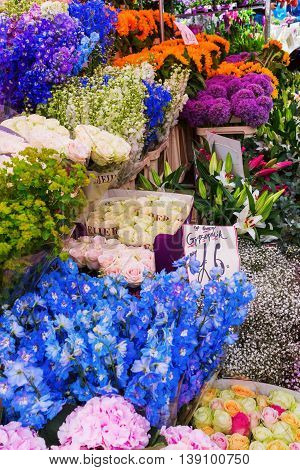 London UK - June 19 2016: flower stand at Columbia Road Flower Market unidentified in London. It is a popular historic street market in the London Borough of Tower Hamlets.