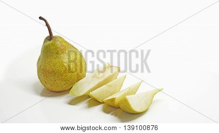 Big yellow Pear isolated on white background.